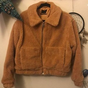 Urban Outfitters Golden Cropped Teddy Jacket NEW